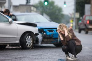 car accident girl stressing